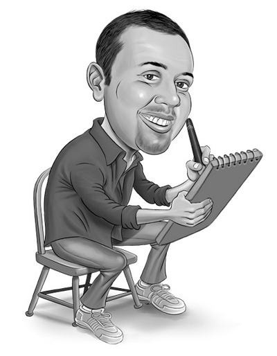 Caricature portrait of artist Gary Tymon